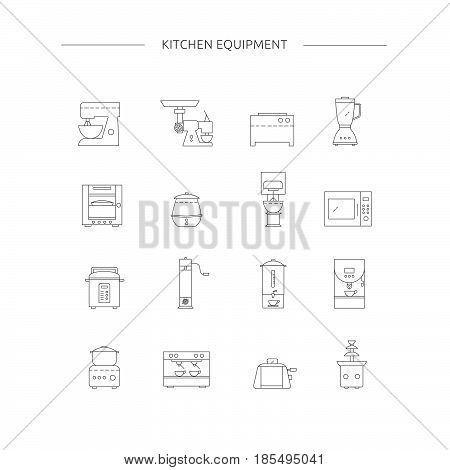 Kitchen Appliances Line Icon Set.