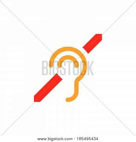 Deafness Symbol. Hearing Impairment Line Icon, Outline Vector Logo Illustration, Linear Pictogram Is