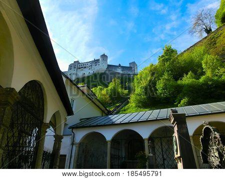 Hohensalzburg Fortress and Cemetery, Salzburg at Austria