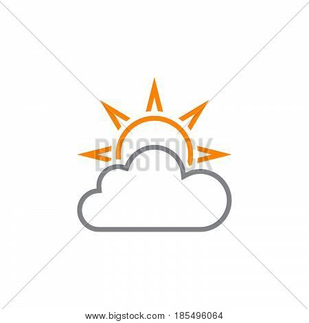 Weather Forecast Line Icon, Partly Cloudy Outline Vector Logo Illustration, Linear Pictogram Isolate