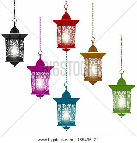 Ramadan Kareem. Six multi-colored lanterns in oriental style hang on chains. Isolated on white background. Vector illustration