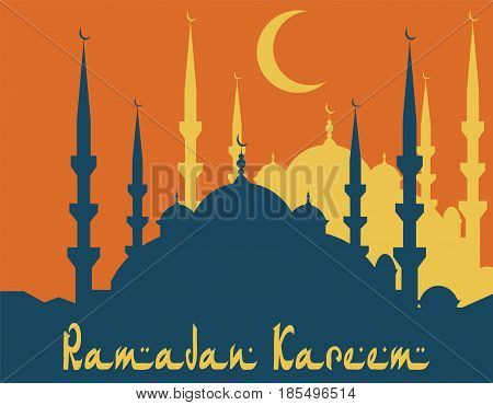 Ramadan Kareem. Stylized drawing of a silhouette of a blue mosque. Vector illustration