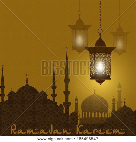 Ramadan Kareem. Stylized drawing of the silhouette of the eastern city. Lanterns on a background of an ornament. Vector illustration