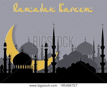 Ramadan Kareem. Greeting card. Stylized drawing of the month and the silhouette of the eastern city. Cut from paper. Vector illustration