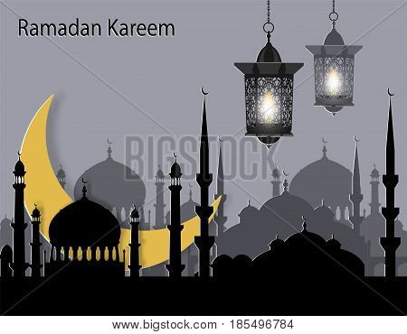 Ramadan Kareem. Greeting card. Stylized drawing of the month and the silhouette of the eastern city. Flashlights. Cut from paper. Vector illustration