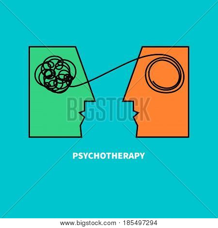 Logo psychotherapy. Two heads with confusing tangle of threads. Vector illustration. Vector illustration