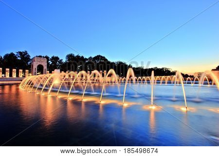 World War II Memorial in Washington DC at Dusk