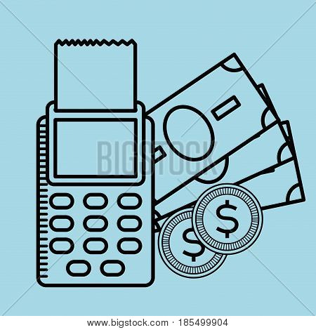 dataphone and money bills and coins over blue background. vector illustration