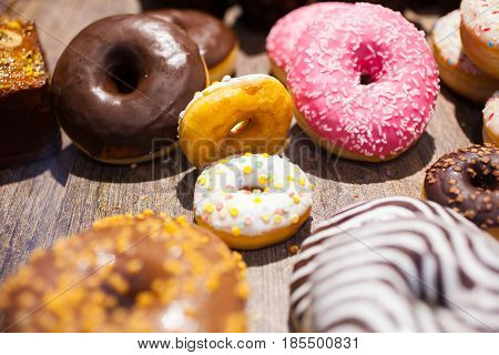 Traditional polish sweets doughnuts on the table