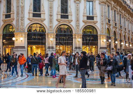 MILAN ITALY - FEBRUARY 26: Shop windows of Prada store in the Vittorio Emanuele II gallery on february 26 2017