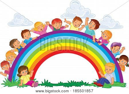 illustration of a carefree young children look out from behind the rainbow