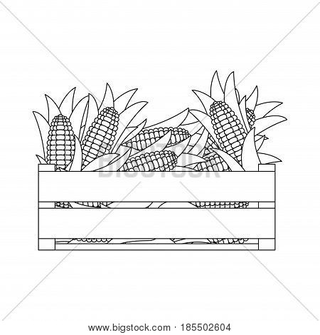 black silhouette of wooden box with corncobs vector illustration