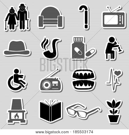 Pensioner Senior Citizen Theme Set Of Stickers Eps10