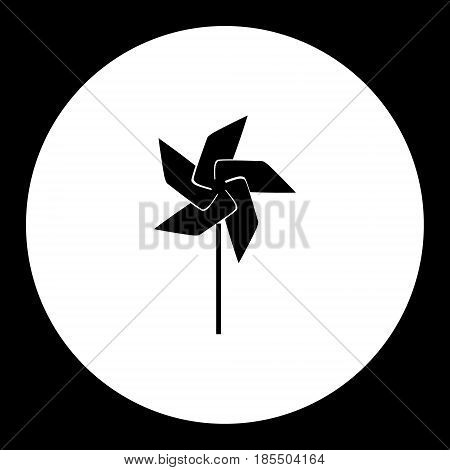 Wind Vane Little Windmill Simple Black Isolated Icon Eps10