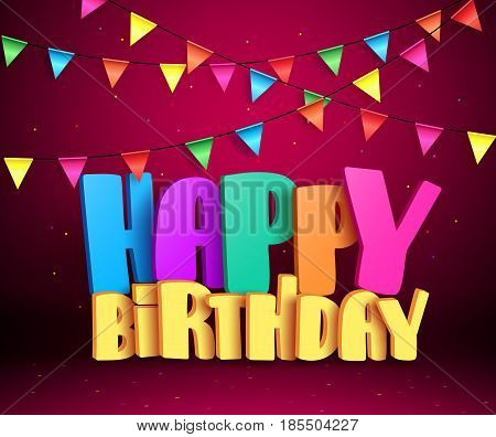 Happy birthday 3d vector text with colorful streamers for party and celebrations in red background. Vector illustration.