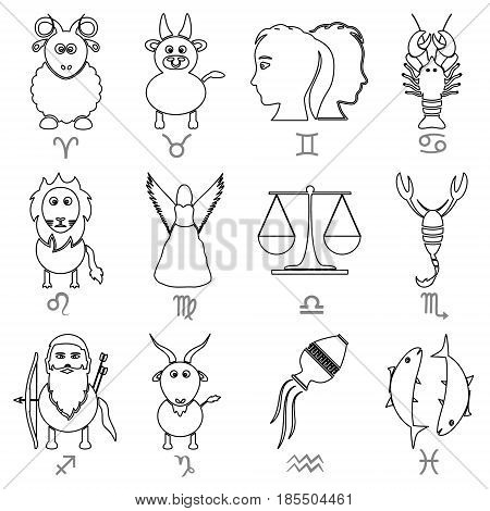 Zodiac Signs For Astrology Set Of Cartoon Animals Outline Icons Eps10