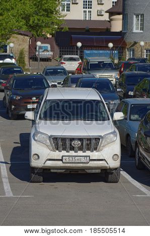 SARANSK, RUSSIA - MAY 07, 2017: Fourth generation Toyota Land Cruiser Prado on parking lot.