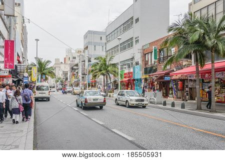OKINAWA JAPAN - April 19 2017: Kokusai dori the main street in Naha City Okinawa