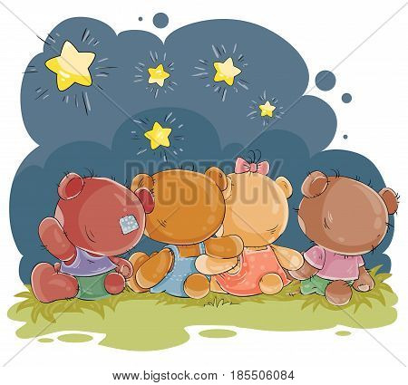 Set of clip art illustrations of teddy bears - friends sitting embracing and admiring the night sky