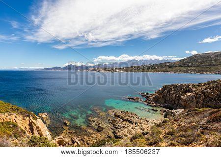 Turquoise Sea And Rocky Coastline At Revellata In Corsica
