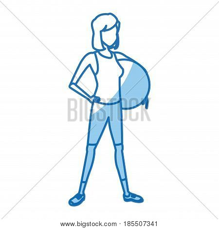 cartoon girl fitball pilates sport vector illustration