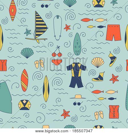 Windsurfing Seamless Pattern.
