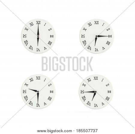Closeup group of white clock with shadow for decorate show the time in 6 6:15 6:30 6:45 a.m. isolated on white background