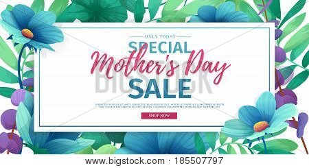 Template designt discount banner for happy mother's day. Horizontal poster for special mother's day sale with flower decoration. Horizontal layout on natural, floral background. Vector.