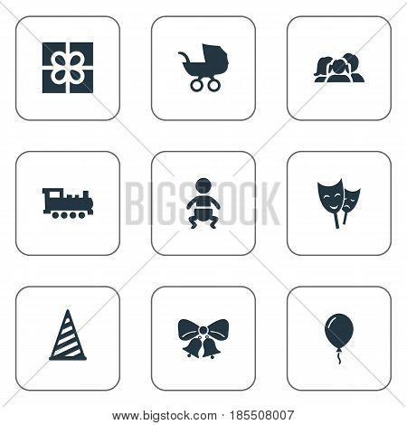 Vector Illustration Set Of Simple Holiday Icons. Elements Infant, Baby Carriage, Cap And Other Synonyms Sky, Infant And Gift.