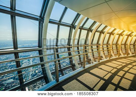 Tokyo, Japan - April 19, 2017: The spiral ramp of Tembo Gallery observation deck, the highest skywalk in the world. Tokyo Sky Tree is a telecommunications and panoramic tower in Sumida, Tokyo.