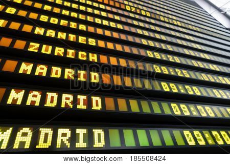 Perspective view of airport Departure and Arrival information board sign, bottom view