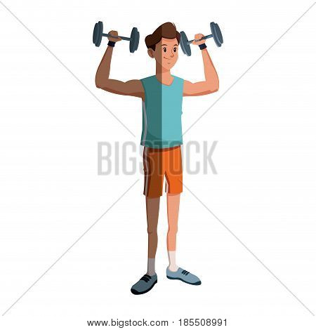 sport man lifting dumbbell fitness gym practice workout vector illustration