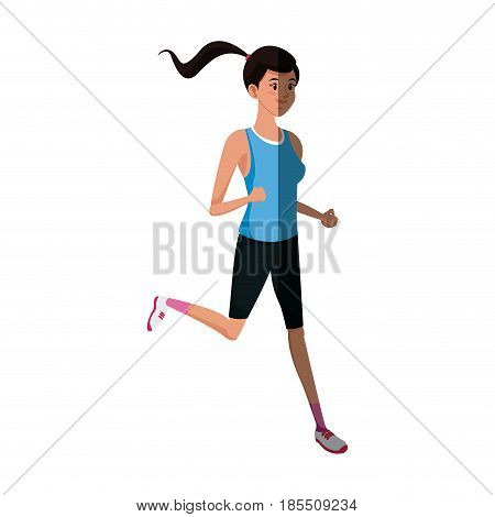character girl sport runner fitness life style vector illustration