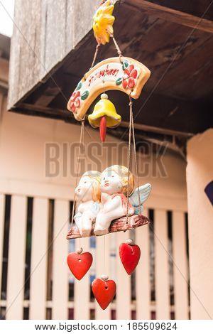 ceramic angel girl doll mobile hanging , art