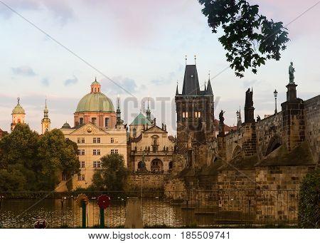 Prague Czech Republic with views of Charles Bridge Bridge Tower Karlova Street Klementinum St Salvator Church