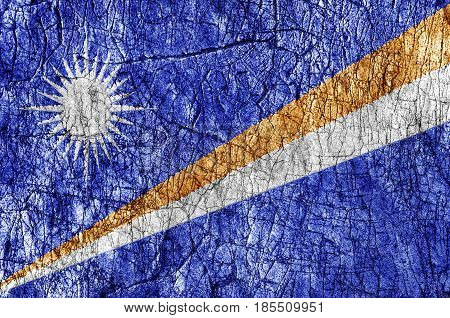 Grudge stone painted Marshall Islands flag close up
