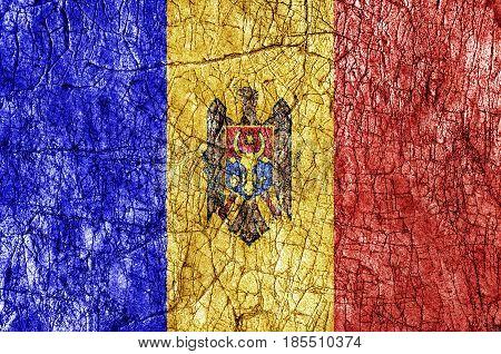 Grudge stone painted Moldova flag close up