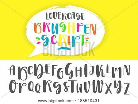Black and colored capital handwritten vector brush pen alphabet on yellow background inside dialog balloon.