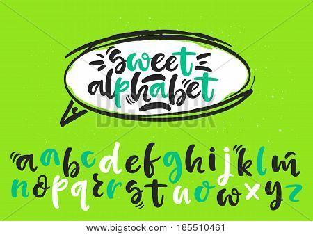 Black and white lowercase handwritten vector brush pen alphabet on green background inside dialog balloon.