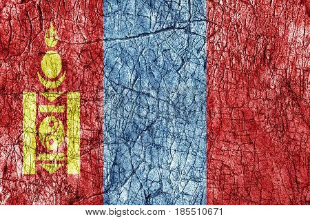 Grudge stone painted Mongolia flag close up