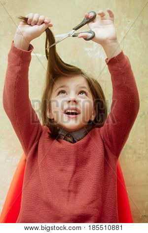 Excited Girl, Hairdresser, Cutting Long Hair With Scissors Over Head