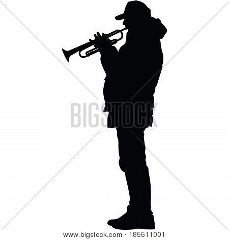 man with a cap playing the trumpet silhouette vector