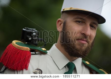Paris France - July 14 2012. The Legionnaire of the French Foreign Legion takes part in the annual military parade in honor of the Bastille Day.