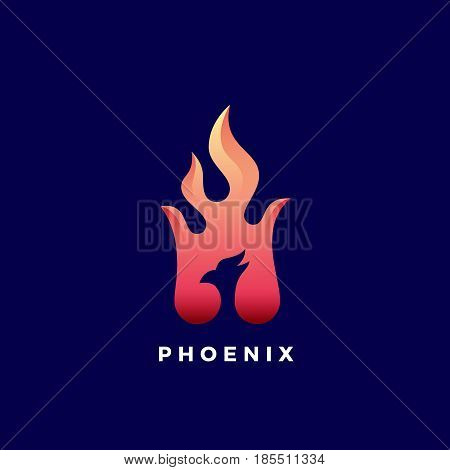 Negative Space Phoenix Flame Abstract Vector Sign, Symbol or Logo Template. Vibrant Color Gradients. Isolated on Dark Background.