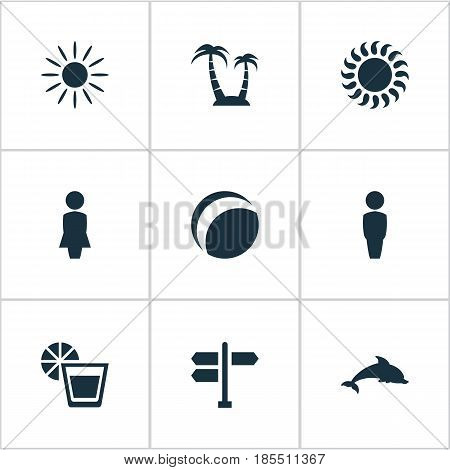 Vector Illustration Set Of Simple Seaside Icons. Elements Mammal Fish, Hot, Woman And Other Synonyms Sea, Hot And Lady.