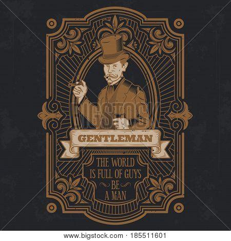 vintage gentleman emblem, label, signage and sticker