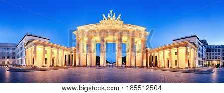 Brandenburger Tor (Brandenburg Gate) panorama famous landmark in Berlin Germany at night