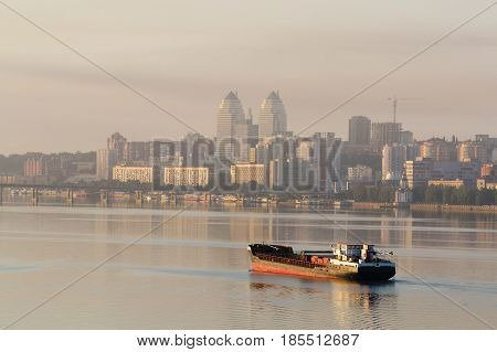 Ship Sailing On The River In The Morning At Dawn I