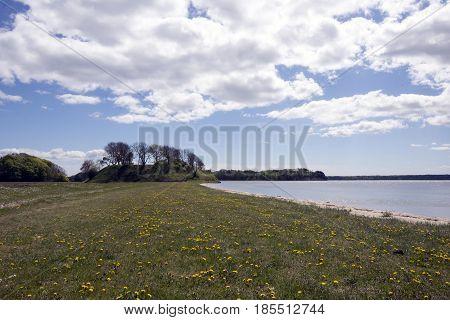 Springtime Danish coastline. Littlebelt and the beach to the right.