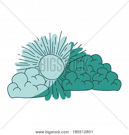 watercolor silhouette of cumulus clouds and sun on aquamarine vector illustration